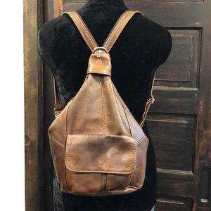 1990s Zip Leather Backpack